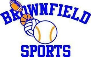 brownfield sports logo blue letters wit ha baseball volleyball basketball and football rising in the middle of the logo