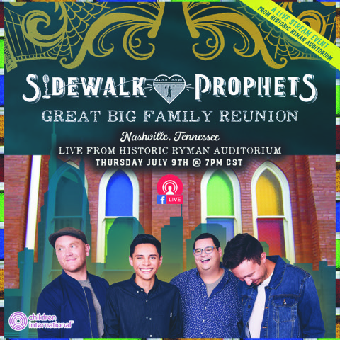 sidewalk prophets concert post Great Big Family Reunion band members smiling and happy together, four men