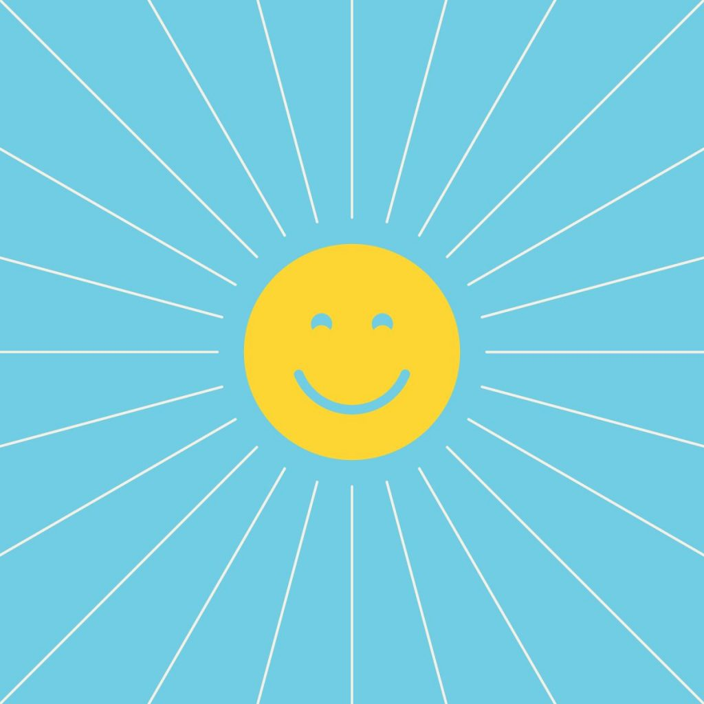 happy sunshine against a blue background