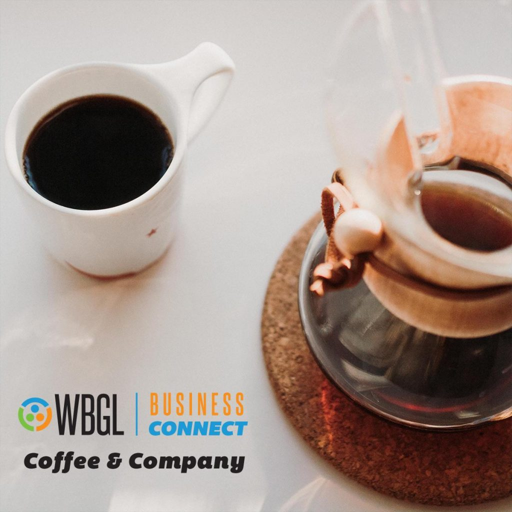 Coffee cup with carafe wording WBGL Business Connect Coffee & Company
