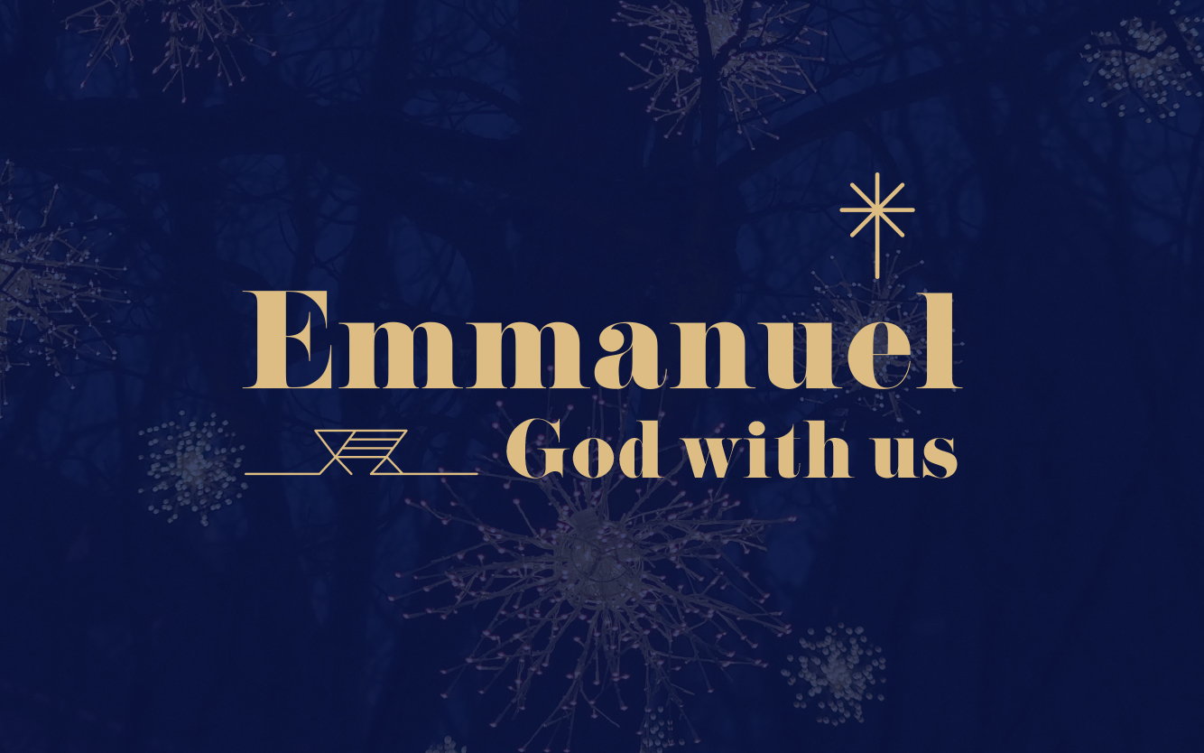 Emmanuel God with us text with star and manger