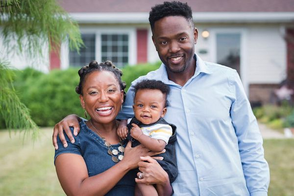 Sparkle Sanders with her husband and infant son
